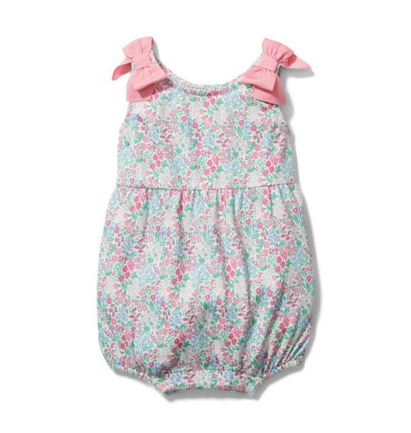 Baby Floral Bow Strap Romper
