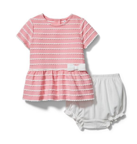 Baby Scalloped Striped Matching Set