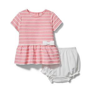 Baby Scalloped Striped Matching Set