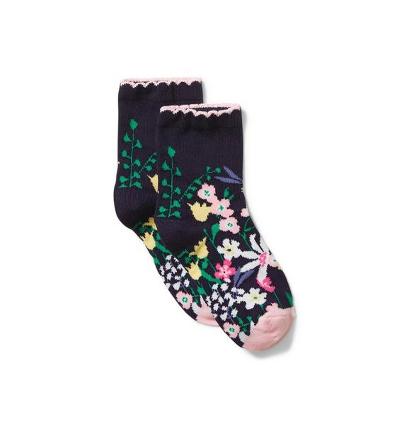 Floral Border Sock
