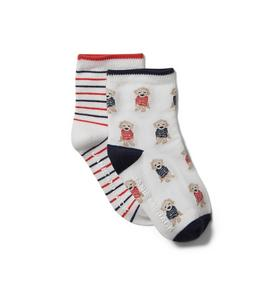Baby Striped and Puppy Sock 2-Pack