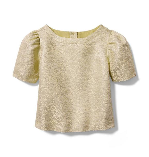 Rachel Zoe Gold Metallic Jacquard Top