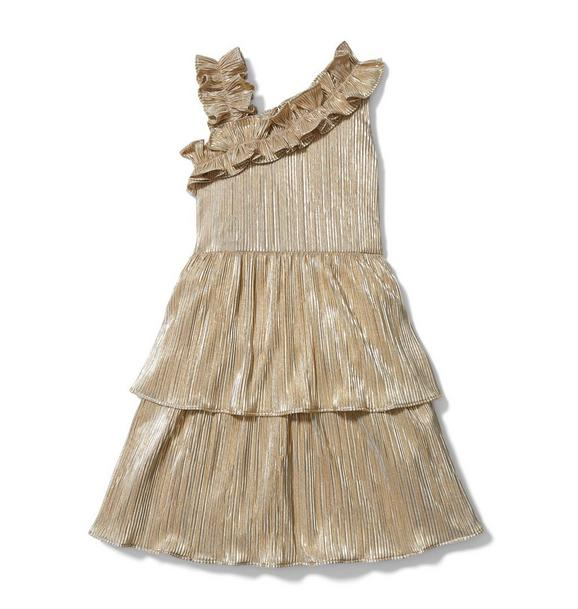 Janie and Jack Rachel Zoe Gold Plisse Ruffle Dress