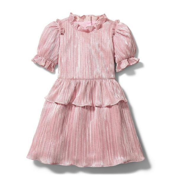 Janie and Jack Rachel Zoe Pink Plisse Puff Sleeve Dress