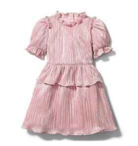 Rachel Zoe Pink Plisse Puff Sleeve Dress
