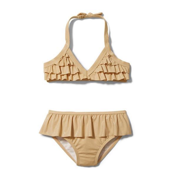 Rachel Zoe Metallic Ruffle 2-Piece Swimsuit