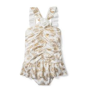 Rachel Zoe Metallic Palm Swimsuit