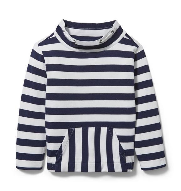 Striped Mock Neck Sweatshirt
