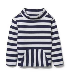 Striped Mock Neck Sweatshirt