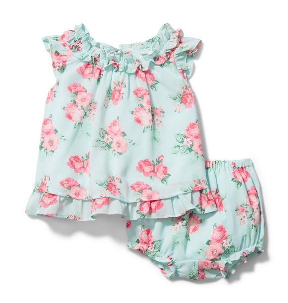 Baby Rose Chiffon Matching Set