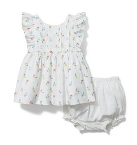 Baby Floral Ruffle Sleeve Matching Set
