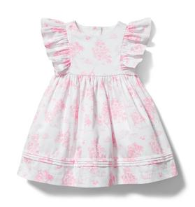 Baby Bunny Toile Pleated Dress
