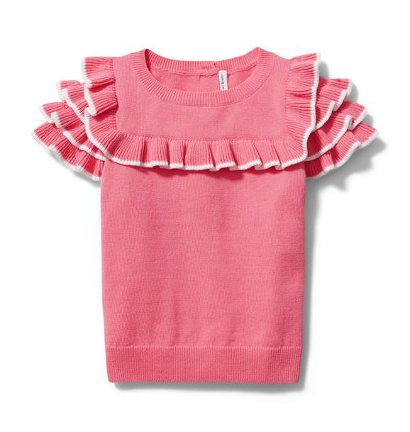Ruffle Trim Sweater Top