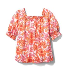 Floral Puff Sleeve Swing Top