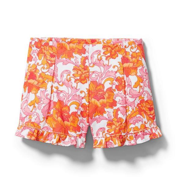 Floral Ruffle Hem Short