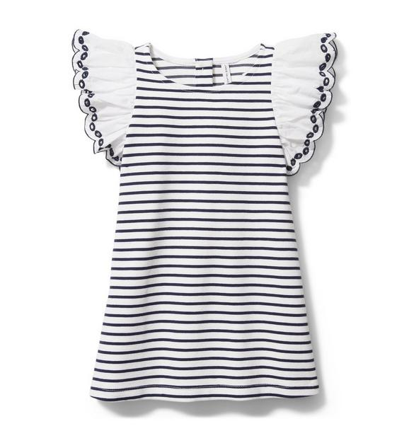 Striped Eyelet Sleeve Dress