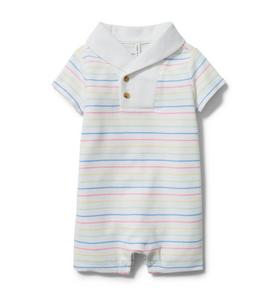 Baby Striped Shawl Collar Romper