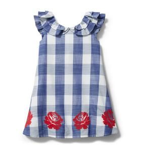 Embroidered Floral Gingham Dress