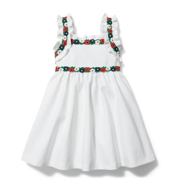 Crochet Floral Trim Ponte Dress