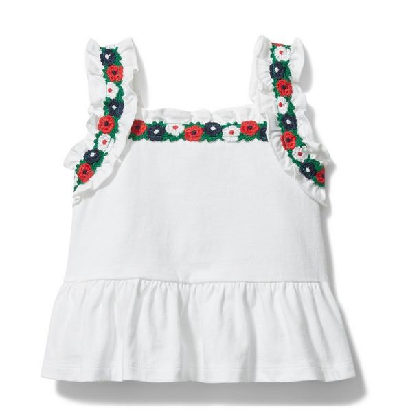 Crochet Floral Trim Peplum Top