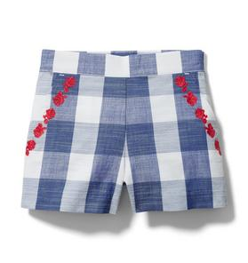 Embroidered Floral Gingham Short
