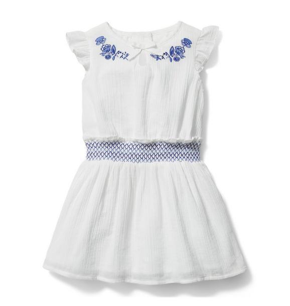 Embroidered Floral Smocked Dress