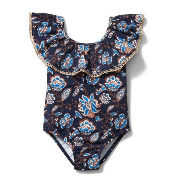 Paisley Floral Ruffle Swimsuit