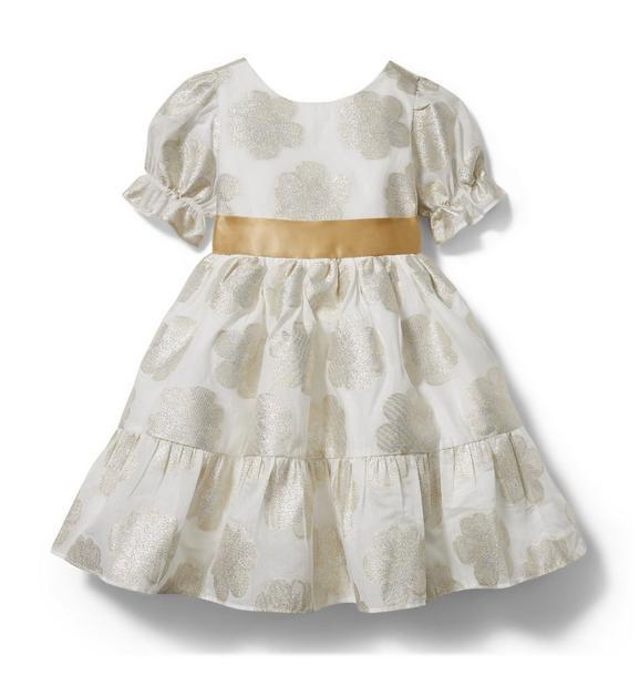 Metallic Floral Puff Sleeve Dress