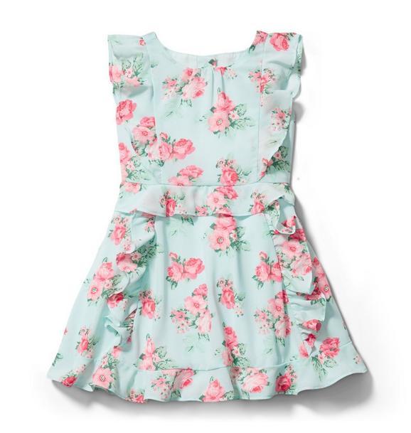 Rose Chiffon Ruffle Dress