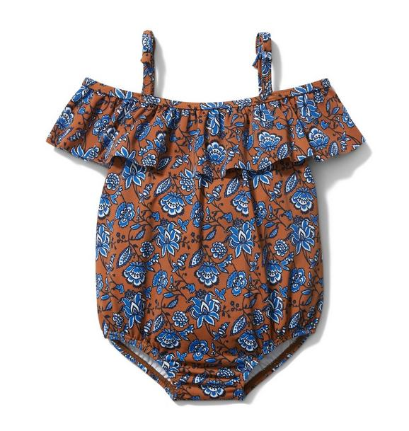 Baby Cold Shoulder Paisley Floral Swimsuit