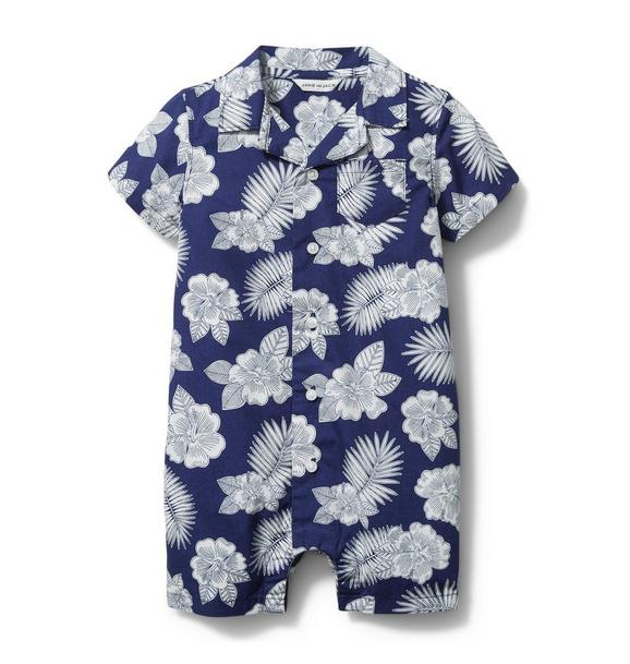 Baby Tropical Floral Polo Romper