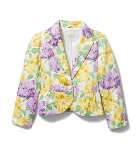 Floral Sateen Peplum Jacket