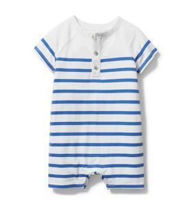 Baby Striped Henley Romper