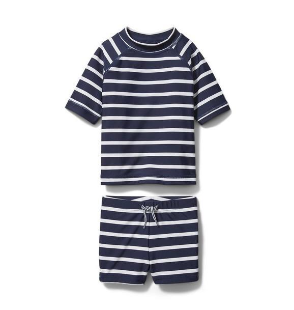 Baby Striped Rash Guard Set