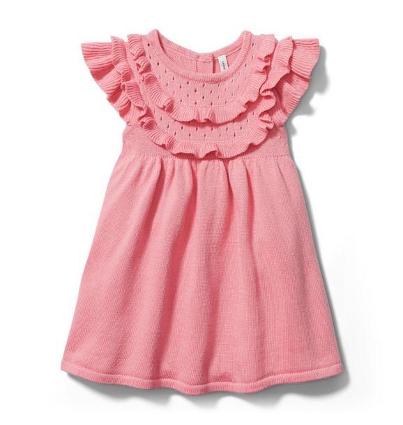 Baby Pointelle Ruffle Sweater Dress