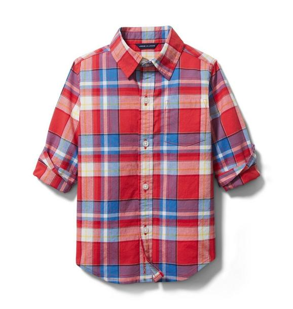 Janie and Jack Madras Plaid Roll-Cuff Shirt