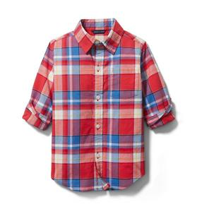 Janie and Jack Madras Plaid Roll-Cuff Shirt