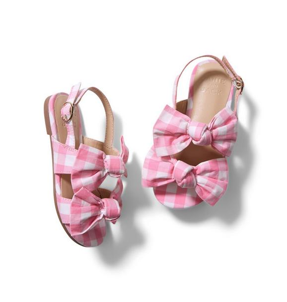 Double Bow Gingham Sandal