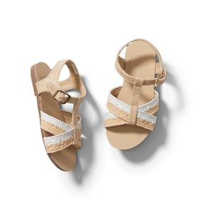 Colorblocked Straw Sandal