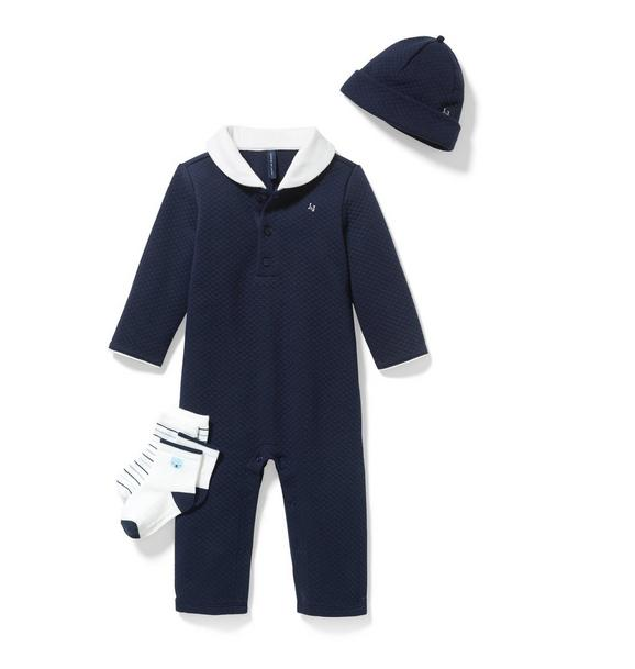 3-Piece Navy Quilted Box