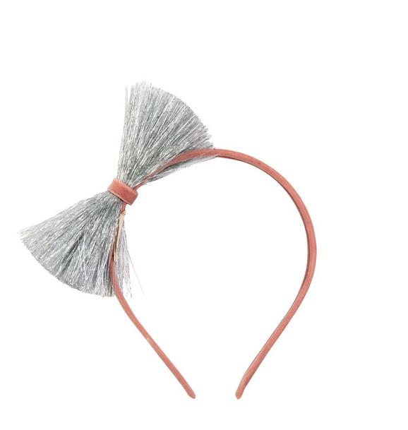 Meri Meri Silver Tinsel Bow Headband
