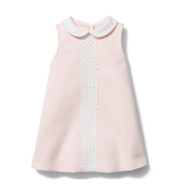 Baby Eyelet Trim Collared Dress