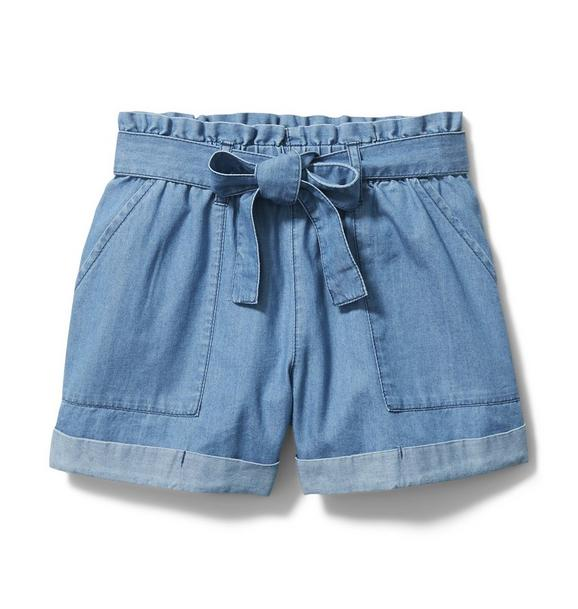 Chambray Belted Short