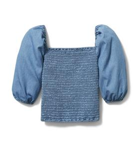 Chambray Smocked Puff Sleeve Top