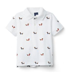 Dog Print Jersey Polo
