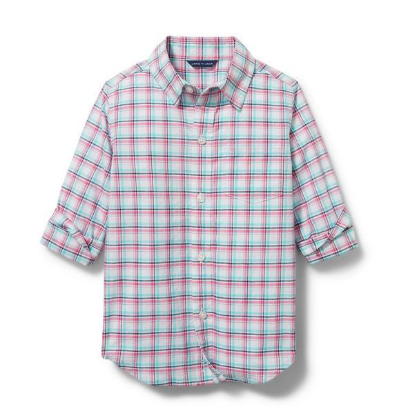 Madras Plaid Roll-Cuff Shirt