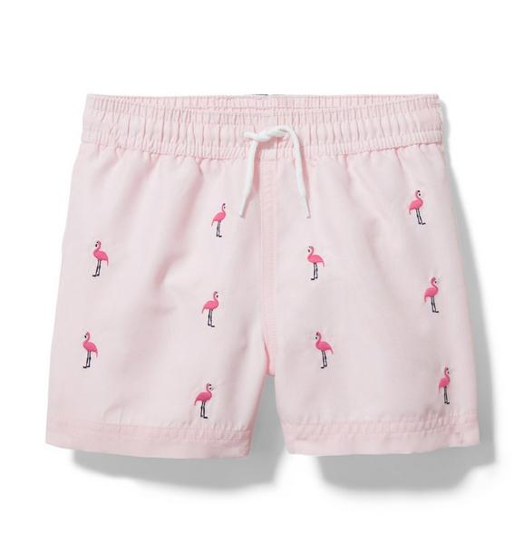 Embroidered Flamingo Swim Trunk
