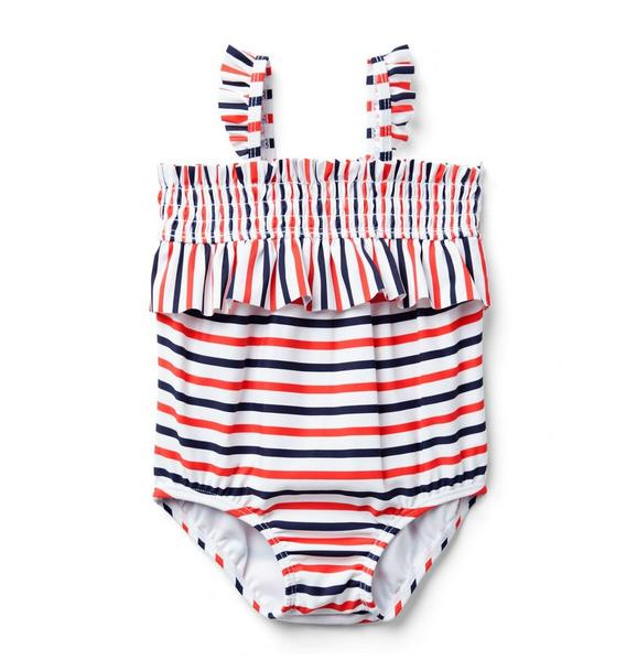 Baby Striped Ruffle Swimsuit