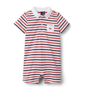 Baby Striped Polo Romper