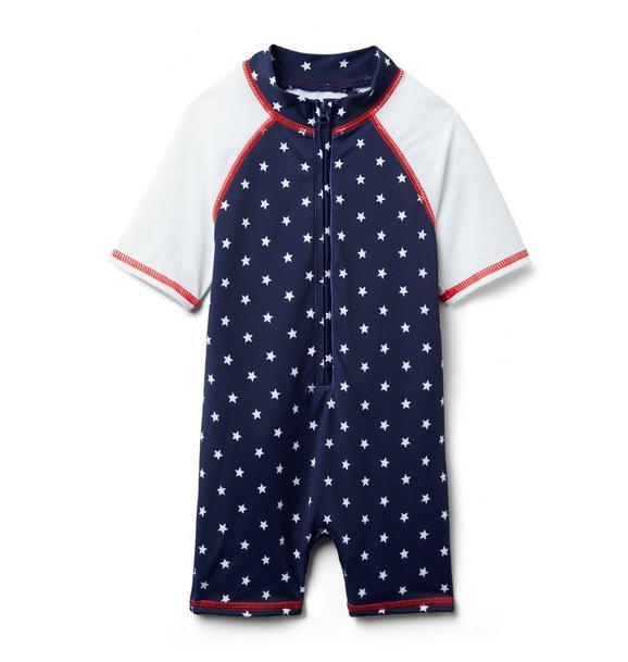 Baby Star Print Rash Guard Swimsuit